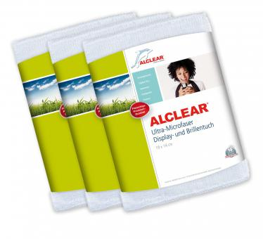 ALCLEAR® 3-er Set Ultra-Microfaser DISPLAYTUCH BRILLENTUCH weiß 19 x 14 cm 950003I