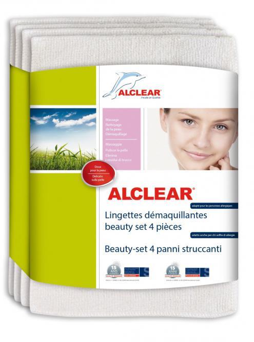 ALCLEAR® Microfaser ABSCHMINKTÜCHER Beauty-Set  4-teilig weiß  20 x 14 cm 200803