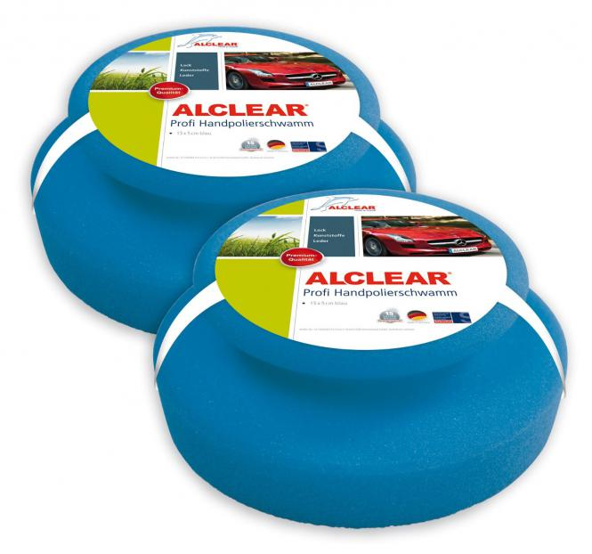 ALCLEAR® 2-er Set Profi HANDPOLIERSCHWAMM blau 13 x 5 cm 5713050M