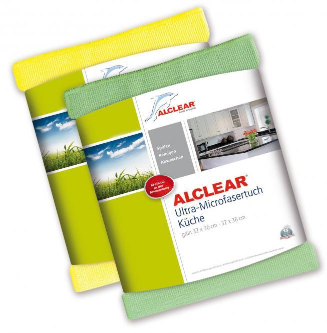 ALCLEAR® 2er Set Ultra-Microfasertuch KÜCHENTUCH gelb und grün 32 x 36 cm 8215810YG