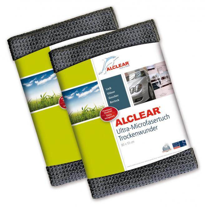 ALCLEAR® 2-er Set Ultra-Microfasertuch TROCKENWUNDER Maxi grau 80 x 55cm 820901M