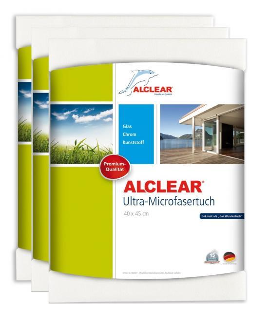 ALCLEAR® 3-er Set Ultra-Microfasertuch FENSTERTUCH WUNDERTUCH weiß 40 x 45 cm 950001