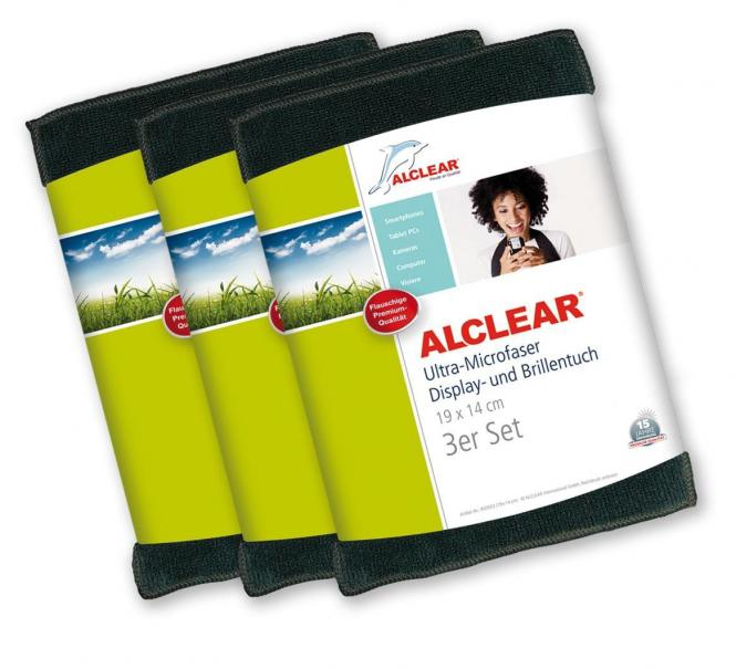ALCLEAR® 3-er Set Ultra-Microfaser DISPLAYTUCH BRILLENTUCH anthrazit 19 x 14 cm 950003A