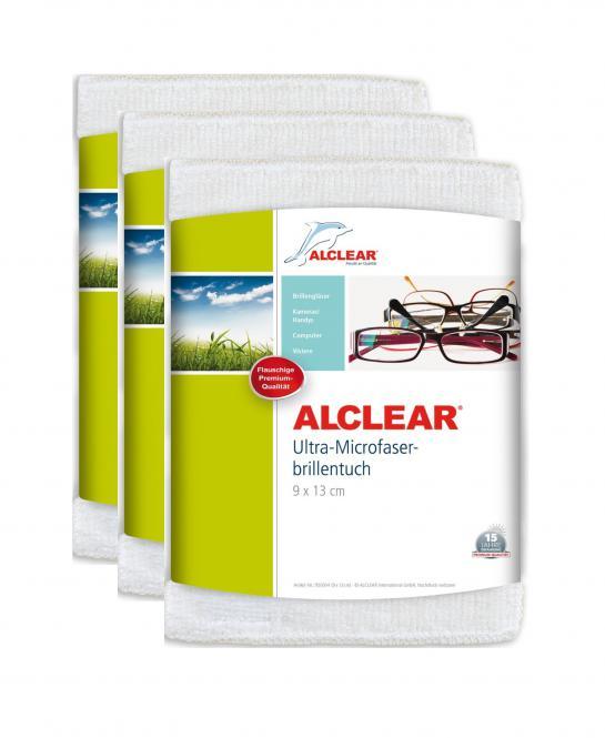 ALCLEAR® 3-er Set Ultra-Microfaser BRILLENTUCH, weiß 9 x 13 cm 950004